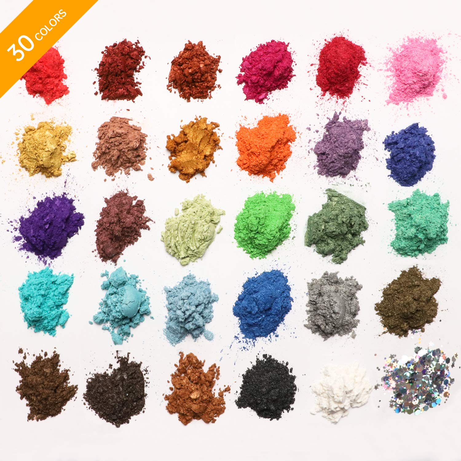 MENNYO Mica Powder 30 Colors (5g/0.18oz, total 150g/5.3oz), Natural Pigments Glitter Epoxy Resin Dye for Soap Making, Bath Bomb, Candle, Cosmetic Eyeshadow, Makeup, Nail Polish, Slime, Paint