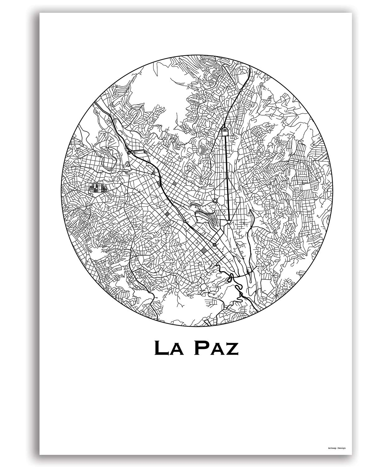 Cartel La paz Bolivia Minimalista Mapa - City Map ...