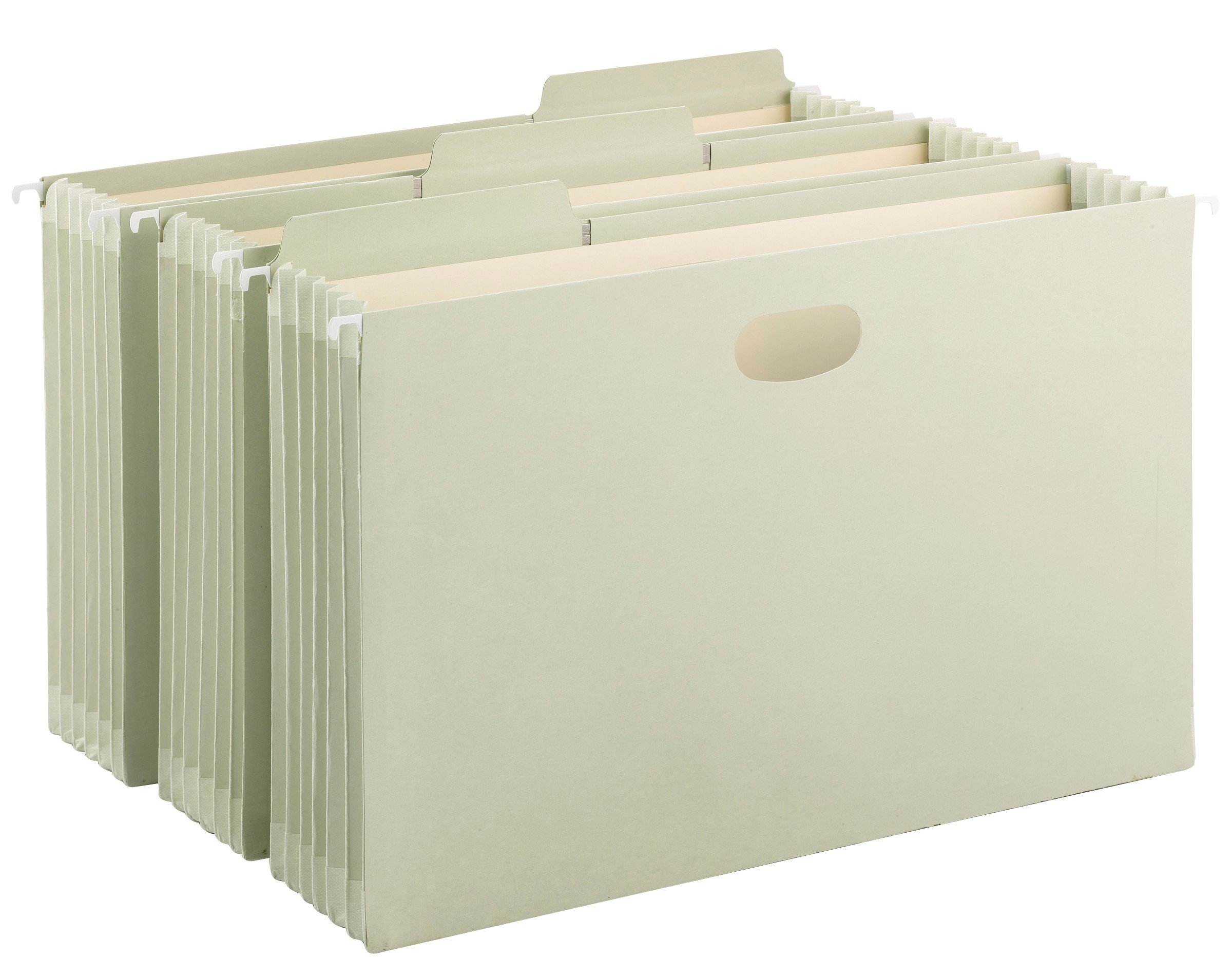 Smead FasTab Hanging File Pocket with TUFF Construction and Full-Height Gusset, 5-1/4'' Expansion, 1/3-Cut Built-in Tabs, Legal Size, Moss, 9 per Box (64324)