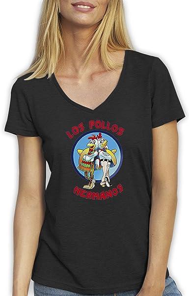 Top Los Pollos Hermanos Breaking Bad Negro T-Shirt Camiseta Cuello V para la Mujer XX Large: Amazon.es: Ropa y accesorios
