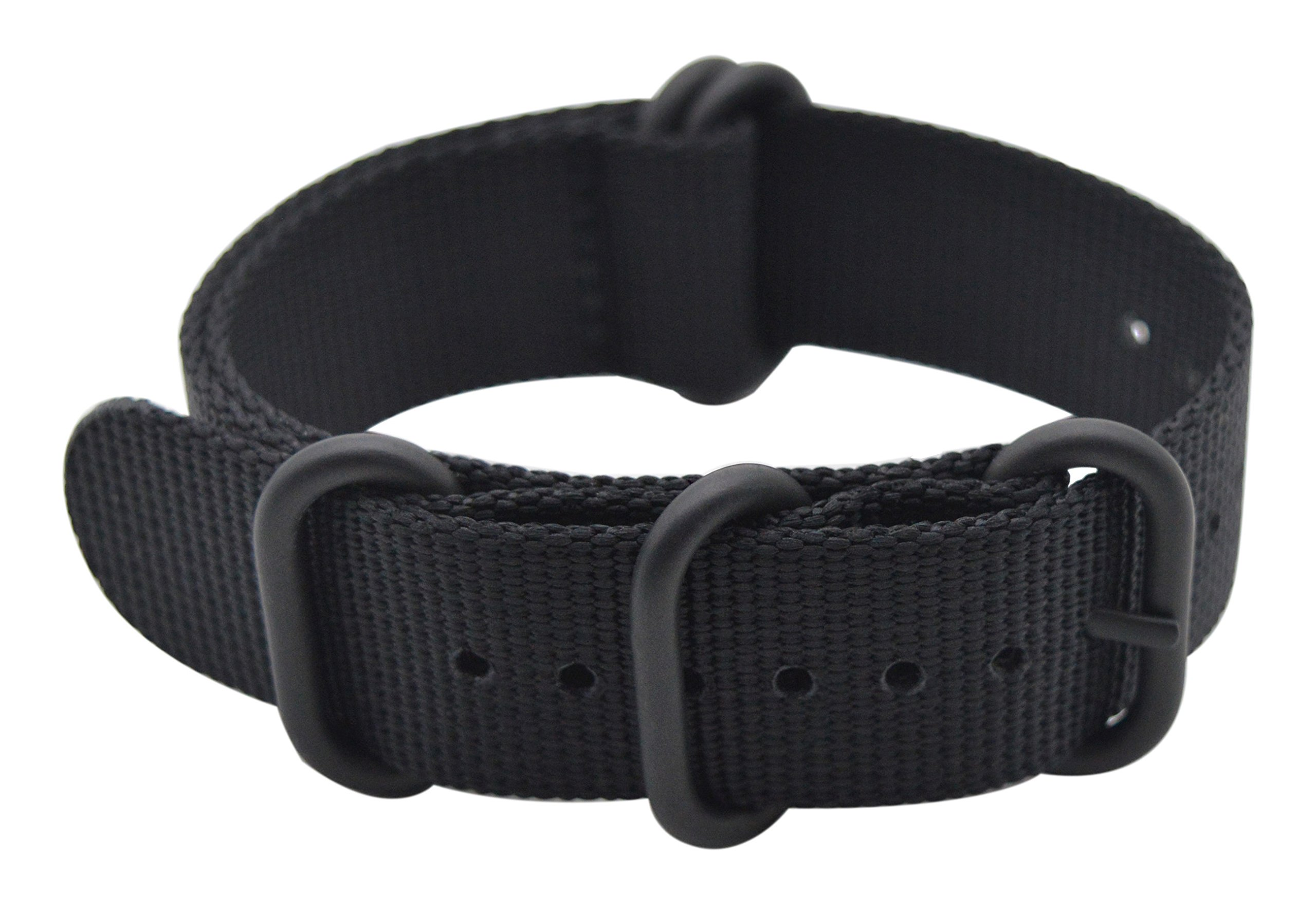 ArtStyle Watch Band with Ballistic Nylon Material Strap and High-End Black Buckle (Matte Finish) (Black, 22mm)