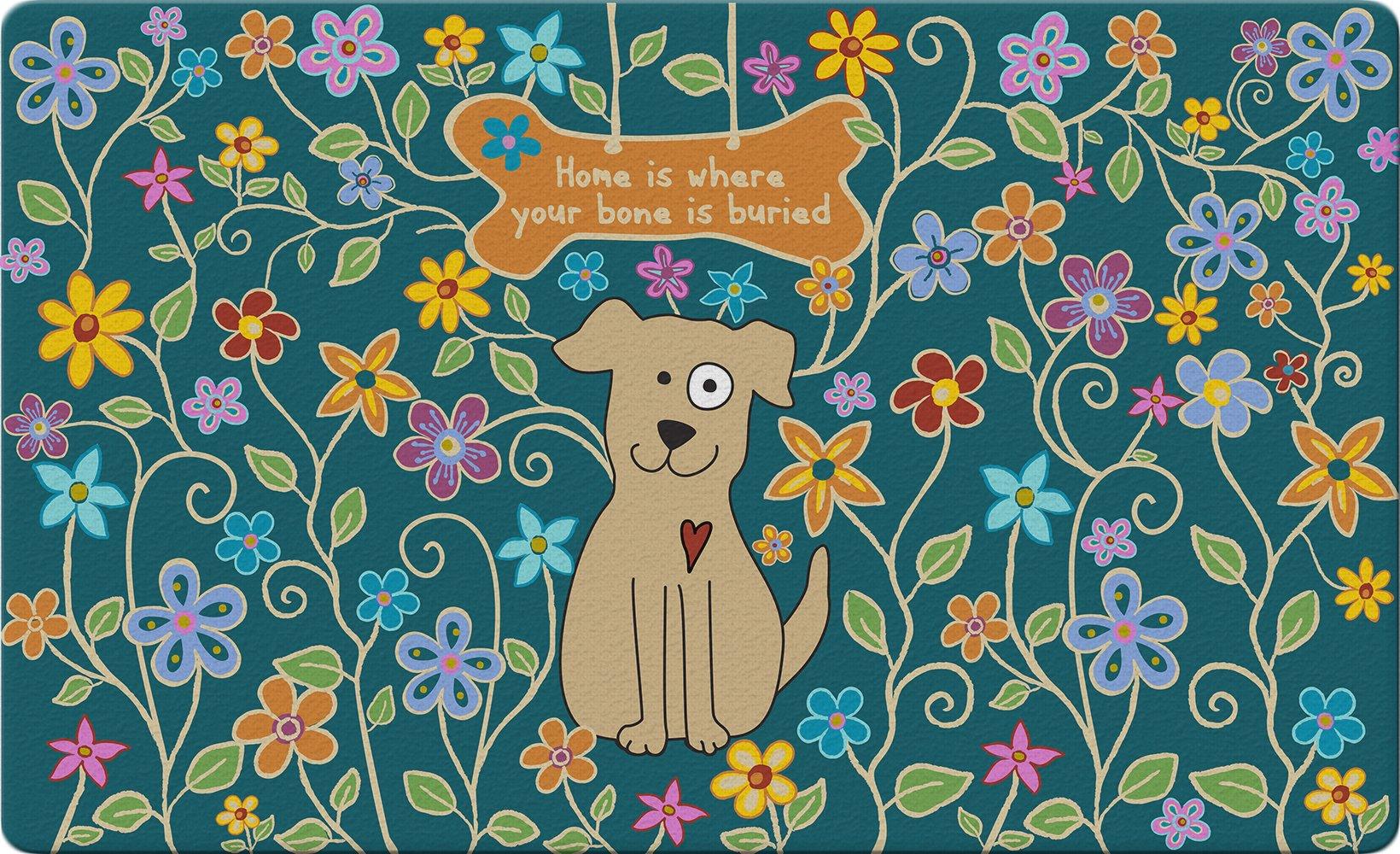 Toland Home Garden Dog Bone Blue 18 x 30 Inch Decorative Flower Floor Mat Puppy Home Doormat