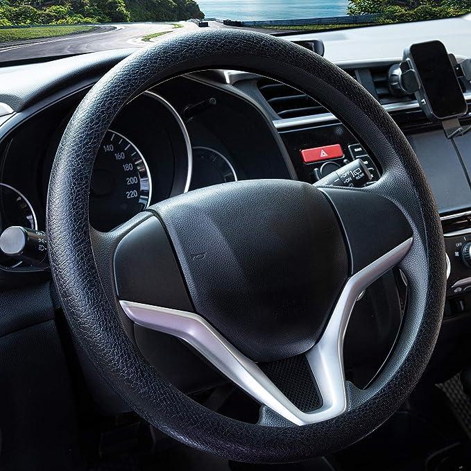 Paperllong Coprivolante per Auto Universale in Pelle PU con Aghi e coprivolante Antiscivolo Traspirante