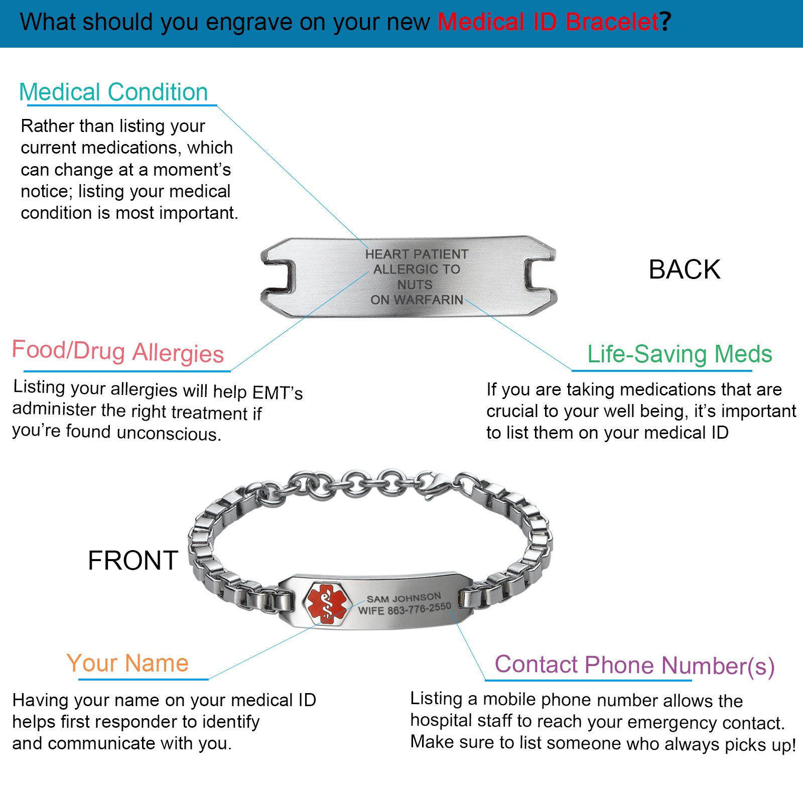 Divoti Custom Engraved DYO European Charm Medical Alert Bracelet for Women -8.0'' by Divoti (Image #4)