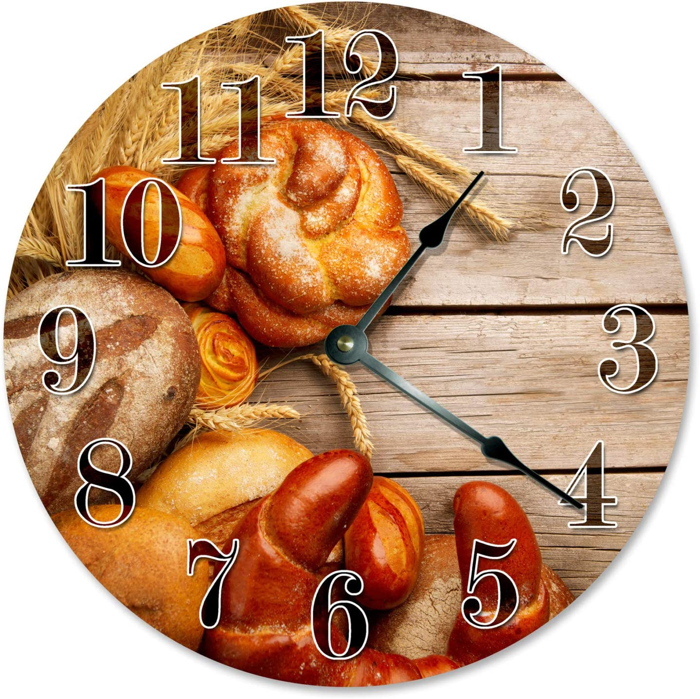 8Jo6Poe Bread Wheat and Wood Clock Large 12 inch Clock Novelty Clocks Wall Clocks Round Clock, Food Clock, Kitchen Clock - 2168