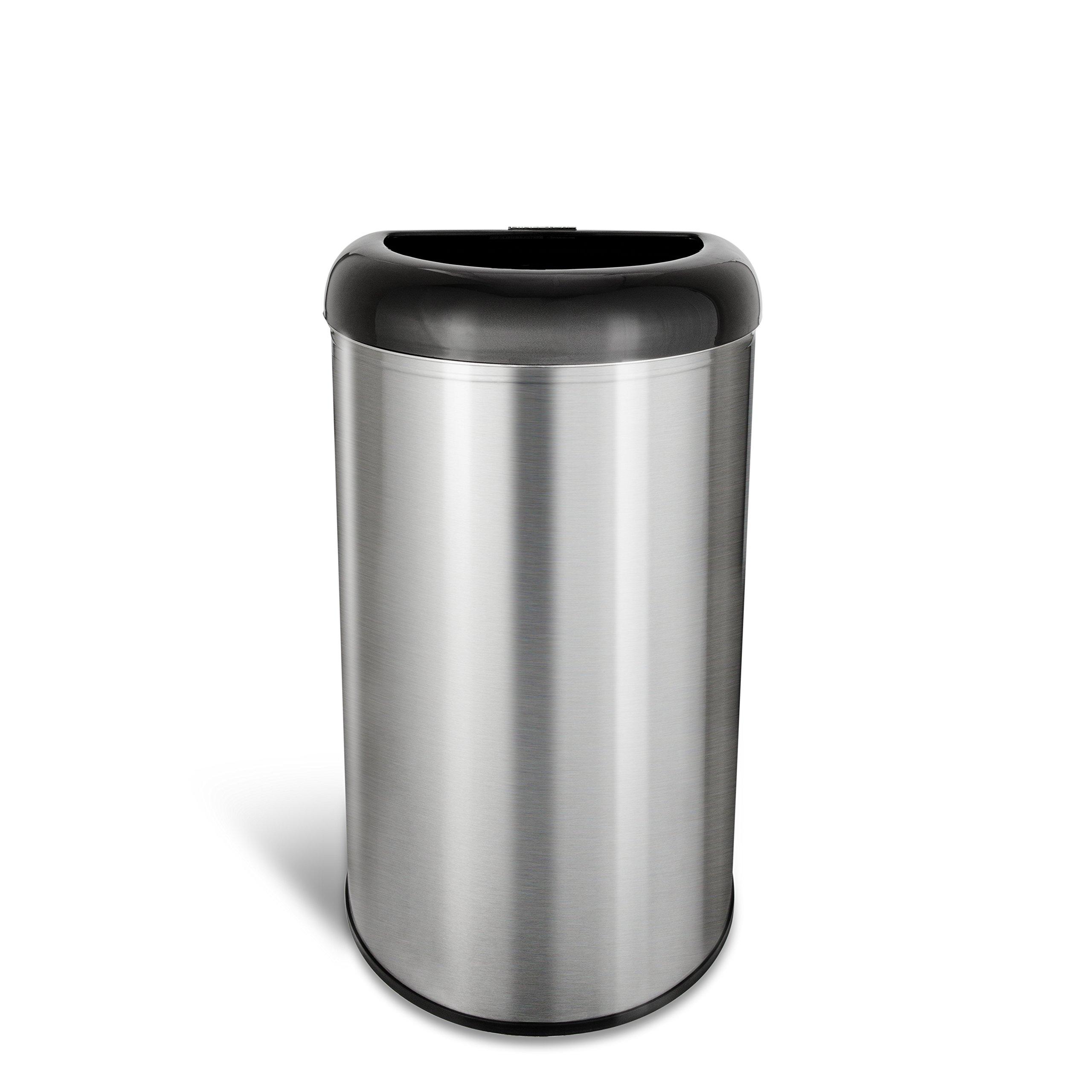 Ninestars OTT-50-19BK Open Top Office Bathroom Trash Can, 13 Gal 50L, Stainless Steel Base (D Shape, Black Lid)