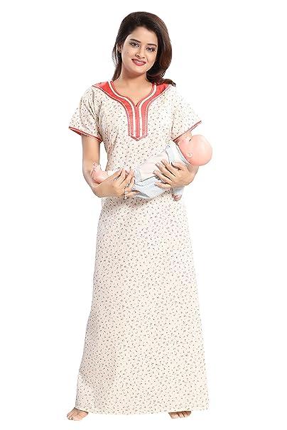 705b0a28a00 TUCUTE Womens Premium Cotton Fabric Feeding Maternity Nighty Night Gown  Nightwear Nightdress
