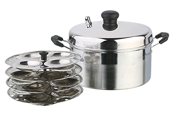 Pristine Stainless Steel Idly Cooker, 21 cm/4 Plates Steamers   Idli Makers