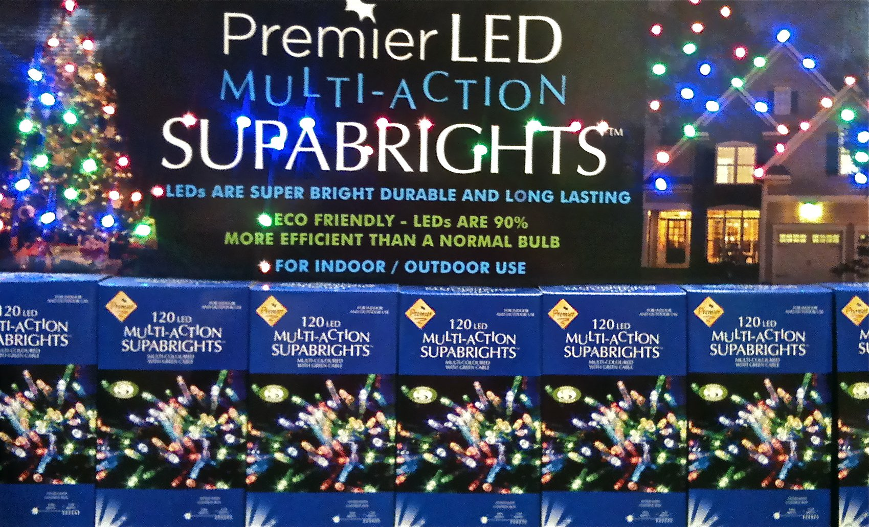 Supabrights 120 Multi Action LED Lights Multi Coloured by Premier