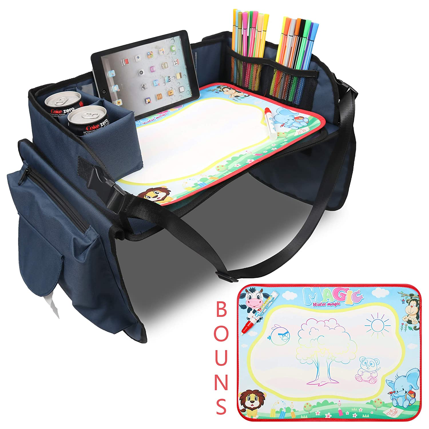 Becko Children's Travel Toy Tray Kids' Car Seat Snack, Game Tray Activity Table for Stroller, Car, Airplane, Road Trip with Doodle Mat, Foldaway & Portable