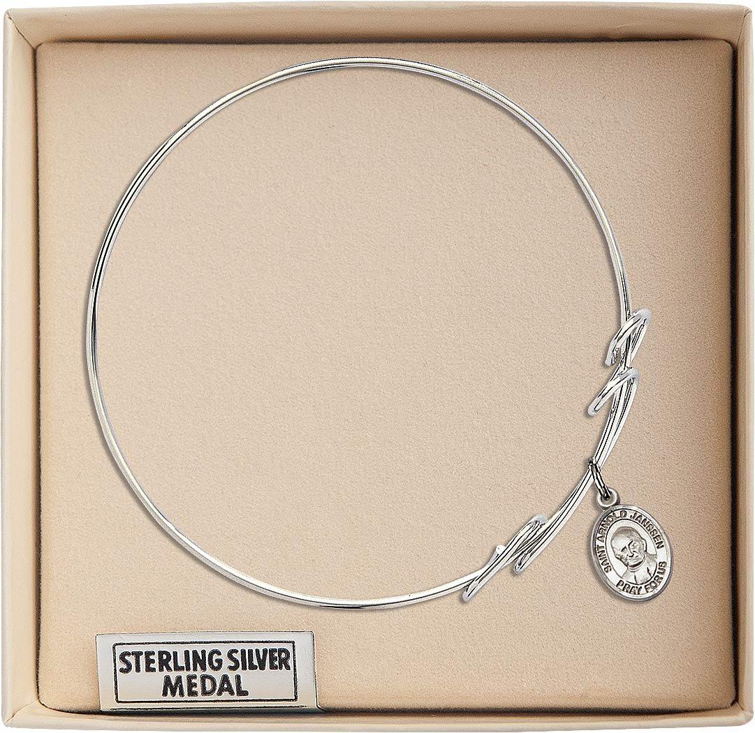 Arnold Janssen in Sterling Silver Bonyak Jewelry Round Double Loop Bangle Bracelet w//St