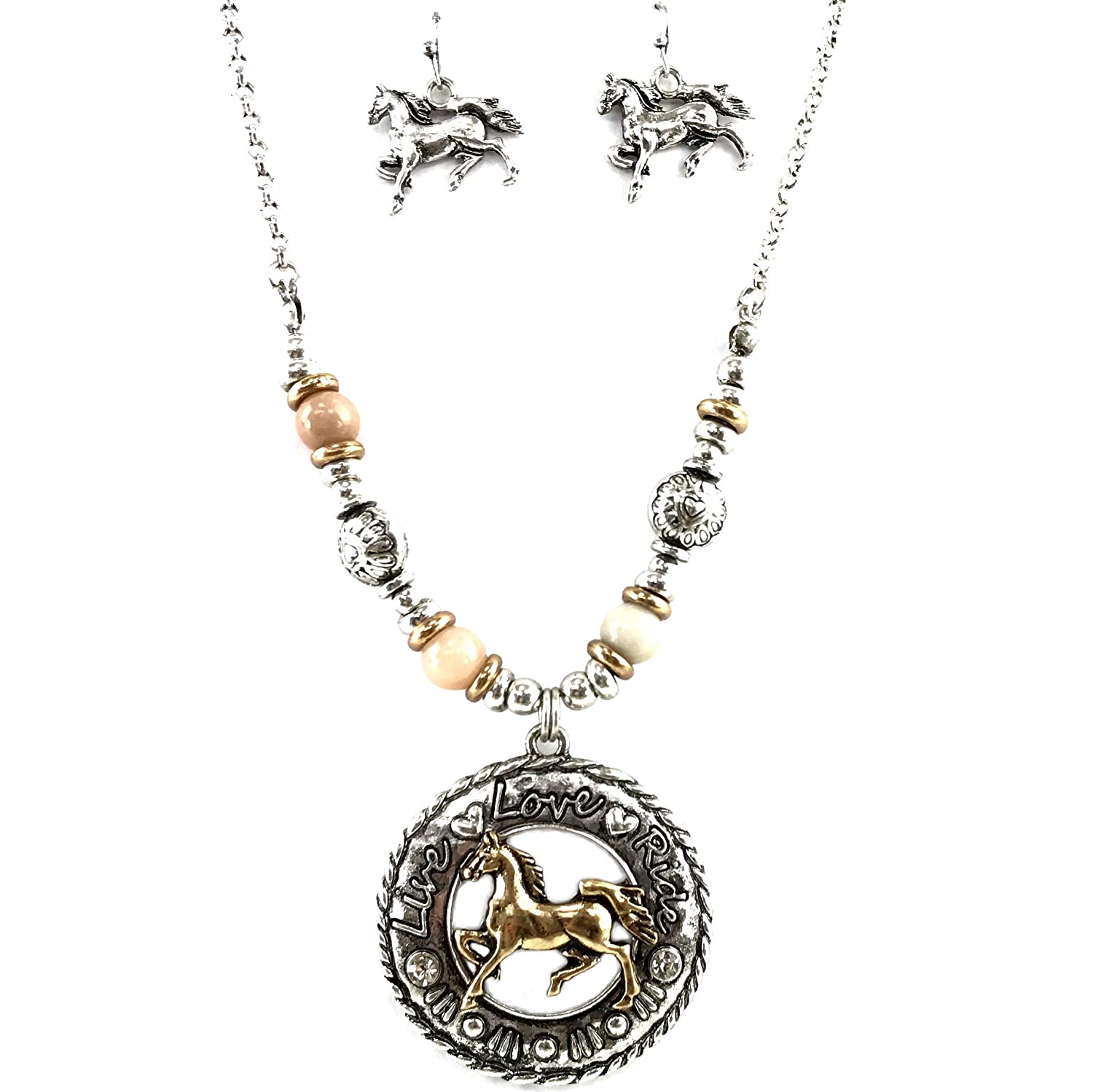 Western Peak Live Love Ride Horse Western Rope Chain Necklace with Earrings