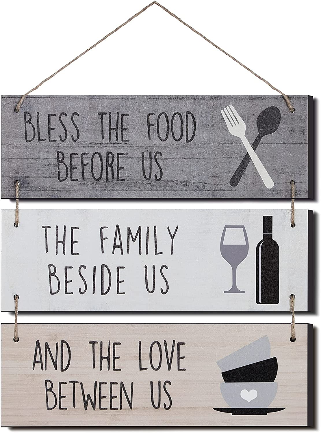 Jetec Bless The Food Before Us Wooden Wall Sign Rustic Hanging Wall Sign Farmhouse Kitchen Wall Decoration Dining Room Wood Sign for Home Kitchen Wall Door Decor