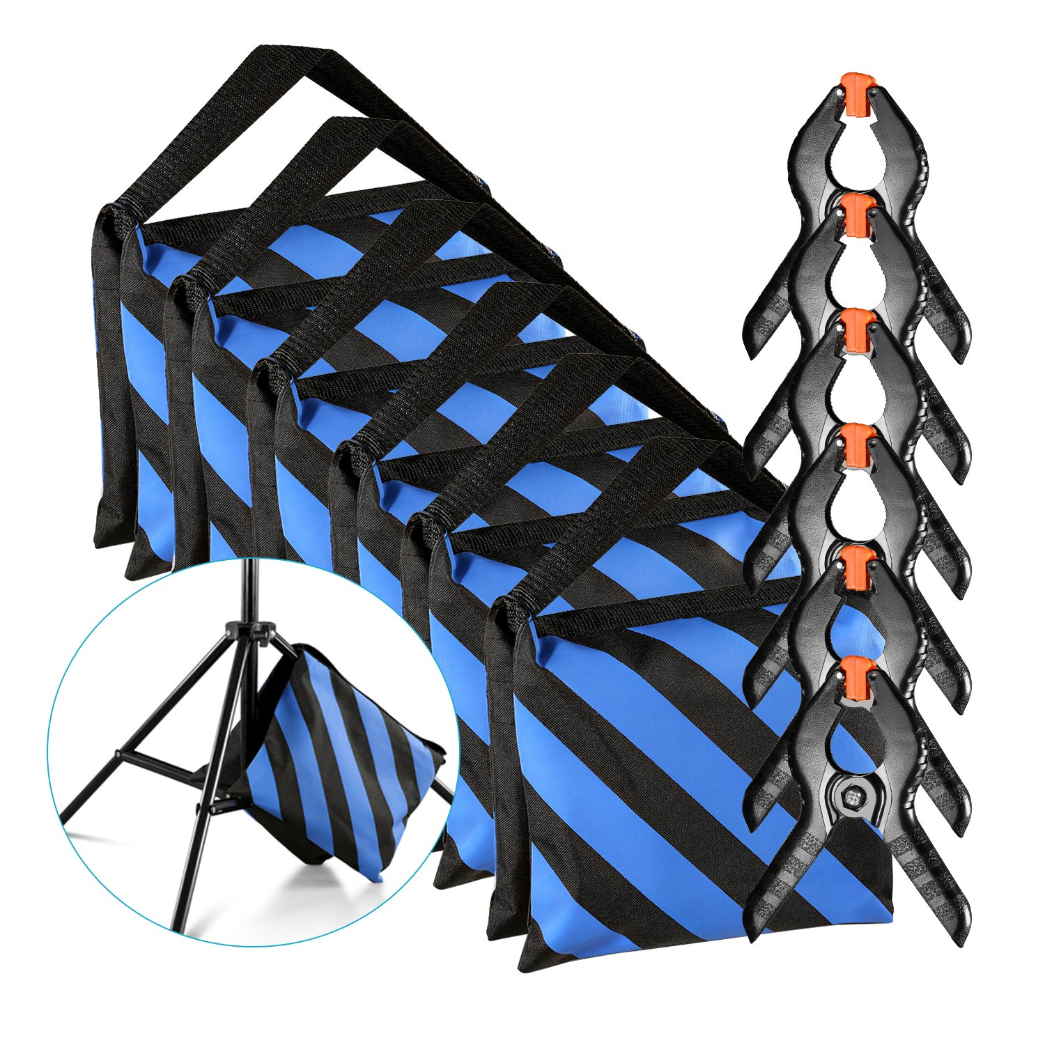 Neewer 6-Pack Heavy Duty Sandbag (Blue/Black) for Photo Studio Light Stands Boom Arms with 6-Pack Muslin Backdrop Spring Clamps Clips (Empty Sandbag) by Neewer