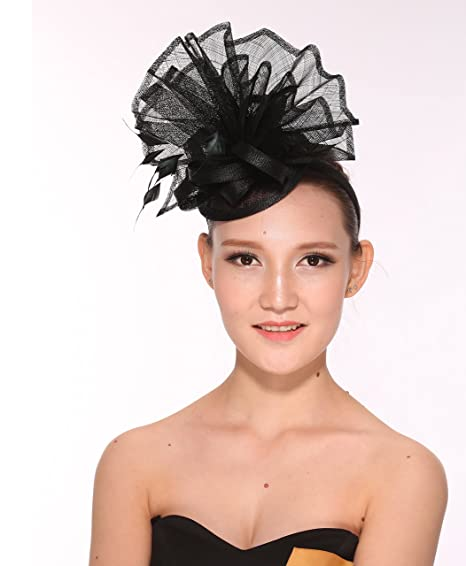 5592165eee1 Newest Women s Large Sinamay Fascinator Headband Cocktail Hat 7 Colors  Available (Black)