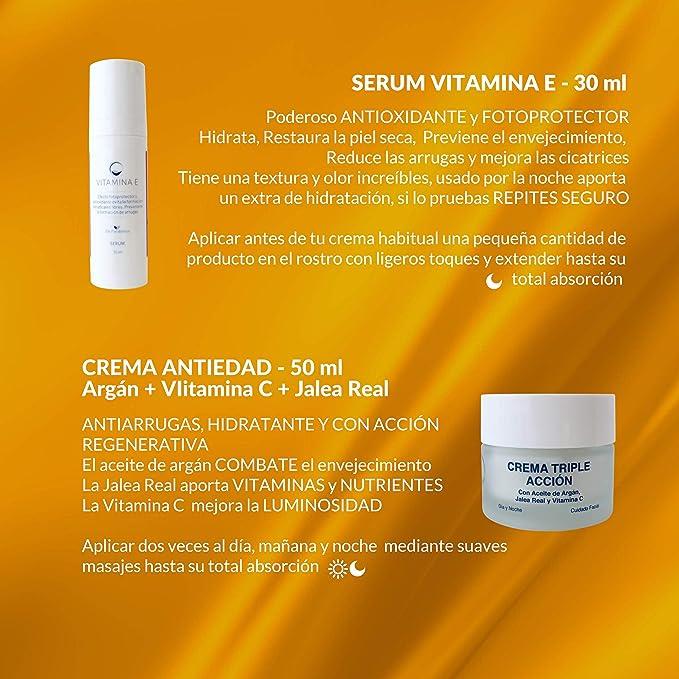 Pack Sequedad y Arrugas - Especial Piel Seca | Contiene Serum Vitamina E + Crema Regeneradora con Vitamina C, Jalea Rel y Aceite de Argán | Fabricado en ...