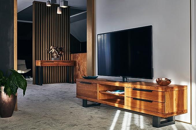 COMIFORT Mueble de TV - Mesa de Roble Macizo para Salón Moderno, Estilo Nórdico, con 3 Cajones y 2 Estantes, Patas de Acero con Acabado Negro, Color Dorado: Amazon.es: Hogar
