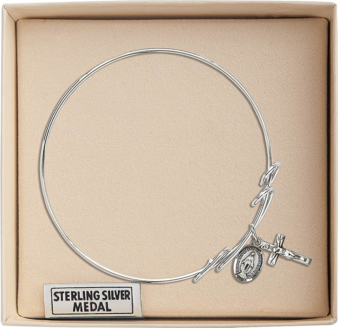 Miraculous Crucifix Charm On A 7 1//2 Inch Round Double Loop Bangle Bracelet