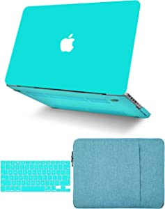 """KECC Laptop Case for MacBook Pro 13"""" (2020/2019/2018/2017/2016, with/Without Touch Bar) w/Keyboard Cover + Sleeve Plastic Hard Shell Case A2159/A1989/A1706/A1708 3 in 1 Bundle (Matte Tiffany Blue)"""