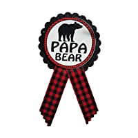 Papa Bear Daddy to Be Pin Buffalo Plaid Baby Shower for dad to wear at Gender Reveal, Red & Black Pin, Baby Sprinkle