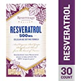 Reserveage - Resveratrol 500mg, Antioxidant Support for a Healthy Heart and Age Defying, Youthful Looking Skin with Organic Red Grapes and Quercetin, Gluten Free, Vegan, 30 Capsules