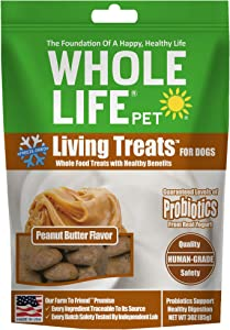 Whole Life Pet USA Sourced and Produced Human Grade Probiotic Freeze Dried Dog Treat, For Healthy Digestion with Yogurt and Real Peanut Butter, 3 Ounce