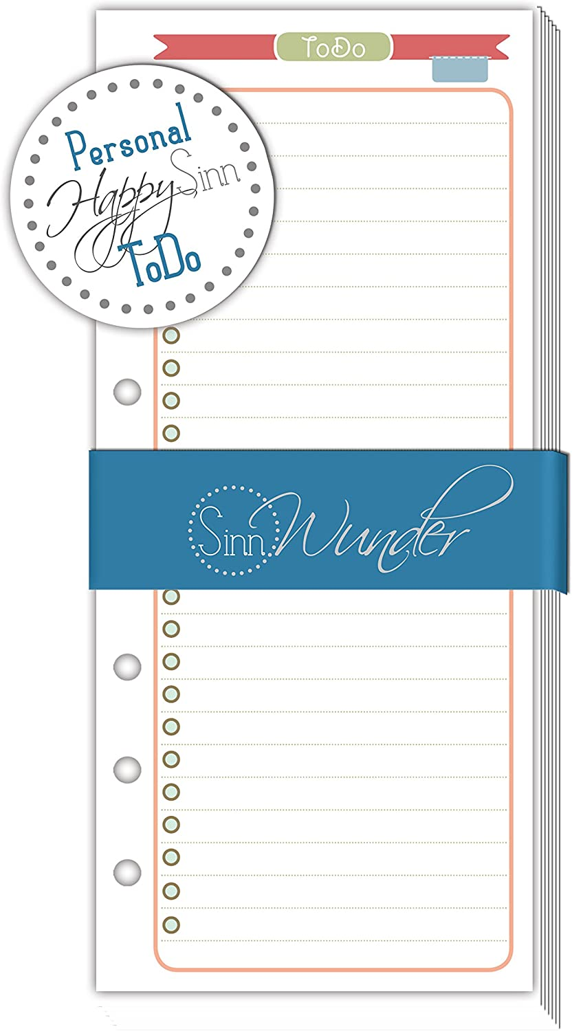 SinnWunder ToDo-Lists Calendar Refills//Inserts for Ring Bound Planners Personal Size Different Designs Available PureSinn