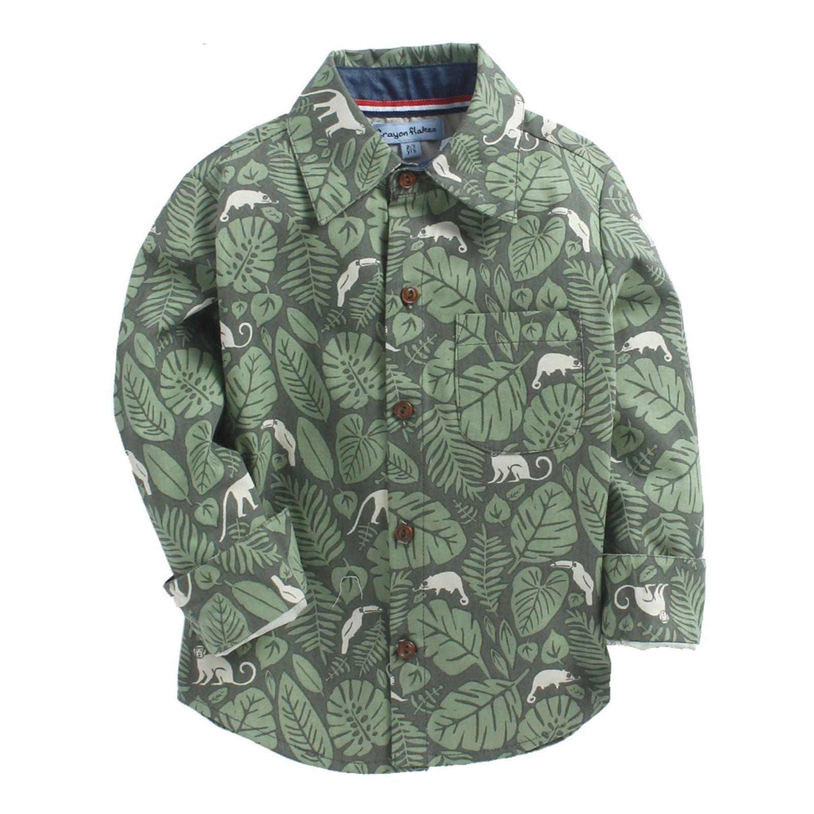 CrayonFlakes Green Long Sleeve Shirt in 100% Cotton with Jungle Print by CrayonFlakes (Image #1)