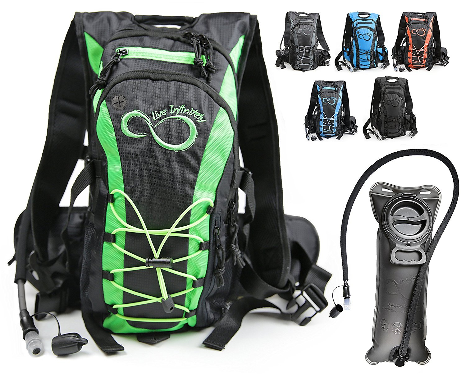 Live Infinitely Hydration Backpack With 2.0L TPU Leak Proof Water Bladder- 600D Polyester -Adjustable Padded Shoulder, Chest & Waist Straps- Silicon Bite Tip & Shut Off Valve- (Green)