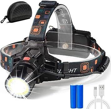 Cobiz Linterna Frontal LED Multimodo - 2 Funciones de Disparo (Disparo Immersive COB & Disparo Concentrado); Linterna con Rueda de Enfoque ...