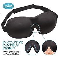 (Black) - Eye Mask for Sleeping, Unimi Sleep Mask for Men Women, Block Out Light, Comfort and Lightweight 3D Eye Cover, Pressure-Free Eye Shades for Travel, Shift Work, Naps, Night Blindfold (Black)