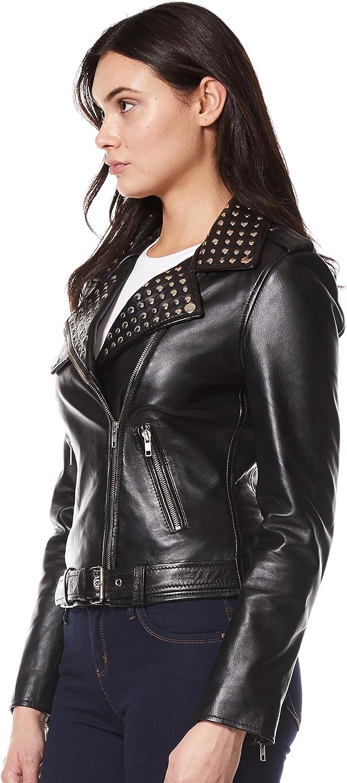 Ladies DOMINO Real Leather Jacket Black Rock Star Women Studded Biker Style 4326