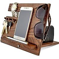 Wood Phone Docking Station, Ash Desk Organizer, Tablet Holder, Key Hooks, Coin, Wallet, Watch Stand, Handmade Men…
