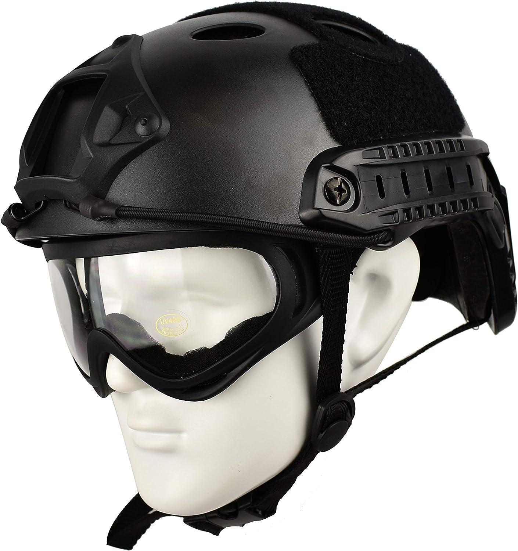 QHIU Casque Tactique l/éger de Type PJ Casque de Protection Rapide pour Airsoft Paintball CS Game Sport de Plein air avec Lunettes
