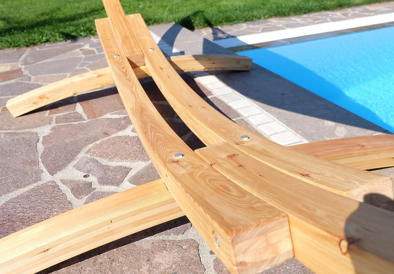 Amaca XXL deluxe nobile 410cm con cornice in legno larice mod NATUR