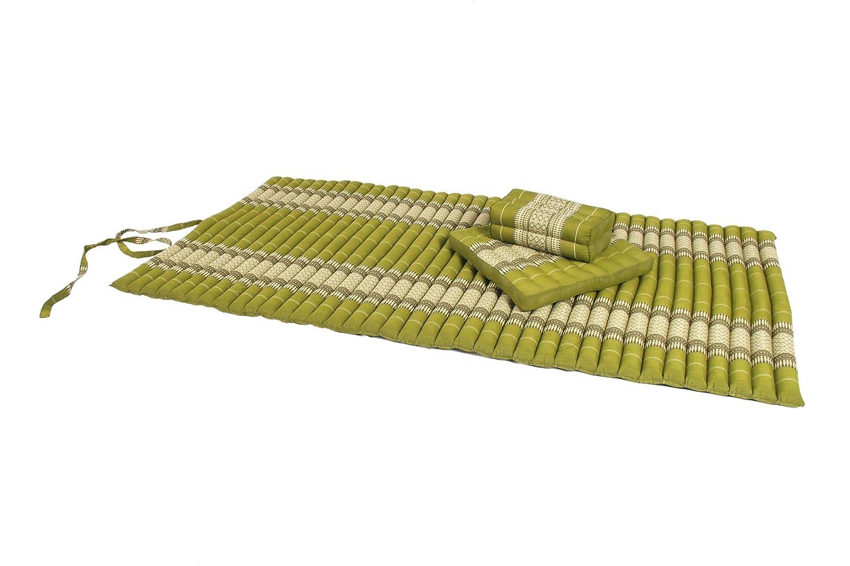 Thaimatten Set: Rollmatte 200x100 + Kissen 35x15x10 + Sitzkissen 40x40 Thaikissen Liege Set für Entspannung und Massage Thaikissen Liege Set grün