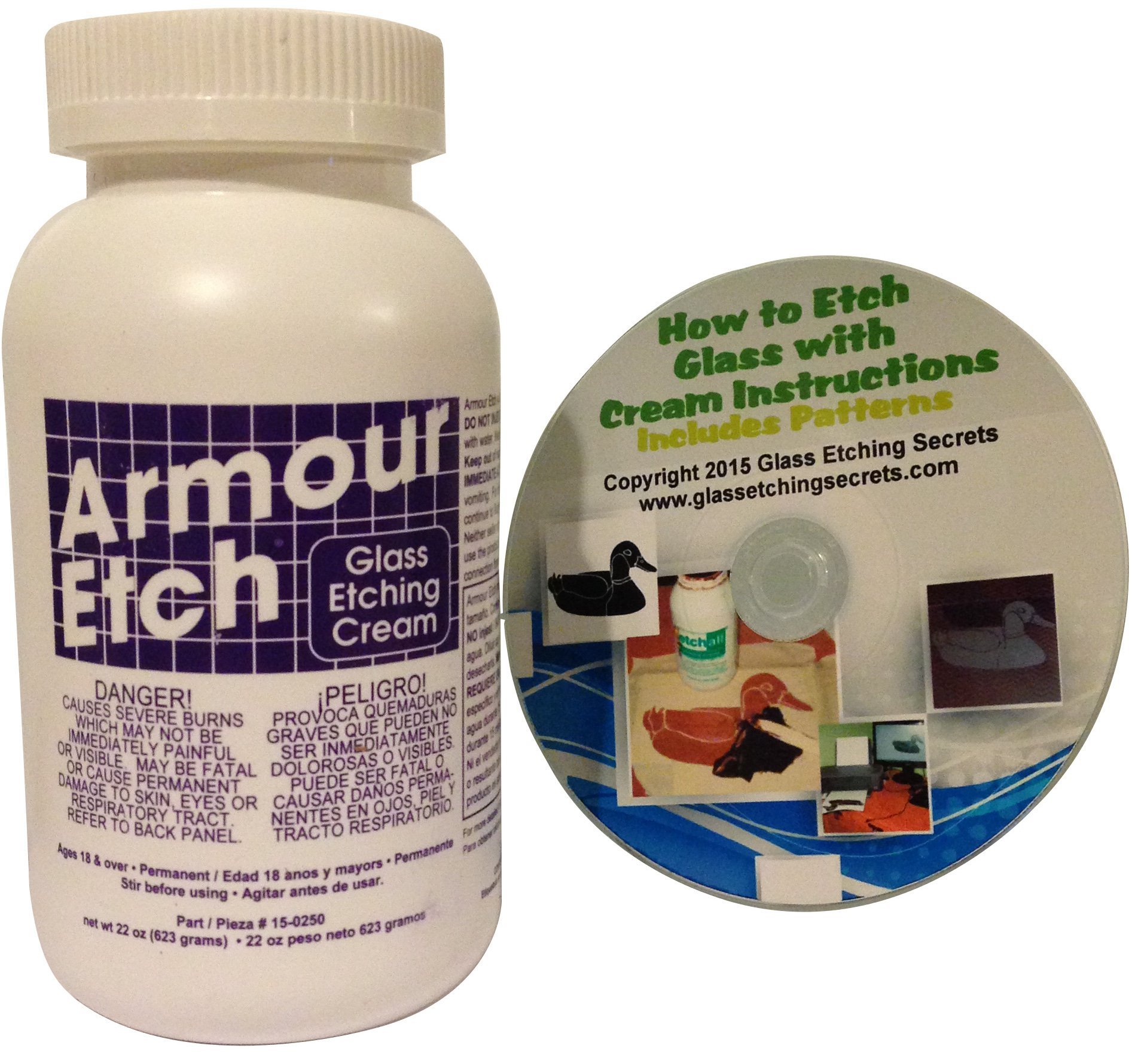 Armour Etch Glass Etching Cream, 22-Ounce: Includes Free How to CD & Patterns
