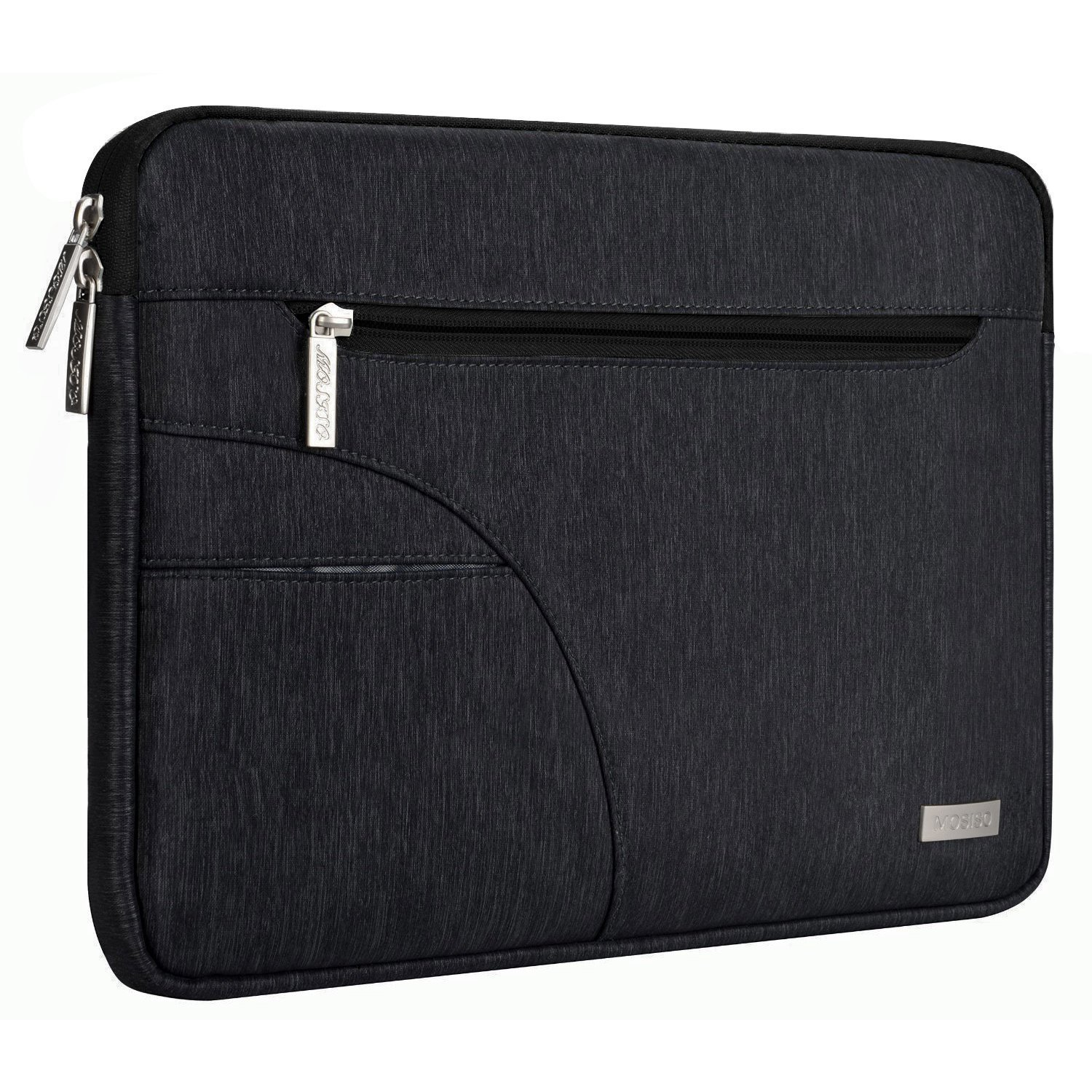 MOSISO Laptop Sleeve Compatible 13 Inch New MacBook Pro Touch Bar A1989 & A1706 & A1708 2018 2017 2016, Microsoft New Surface Pro 5/4/3, Dell XPS 13, Polyester Case Cover Tablet Bag, Black