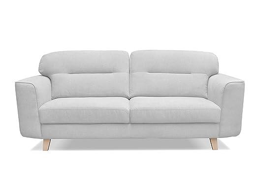 Sofá de estilo escandinavo de tres plazas con tapicería de ...