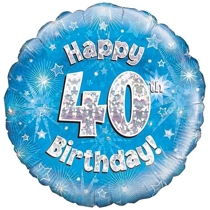 Oaktree Palloncino Blu Di Buon Compleanno Per I 40 Anni Taglia