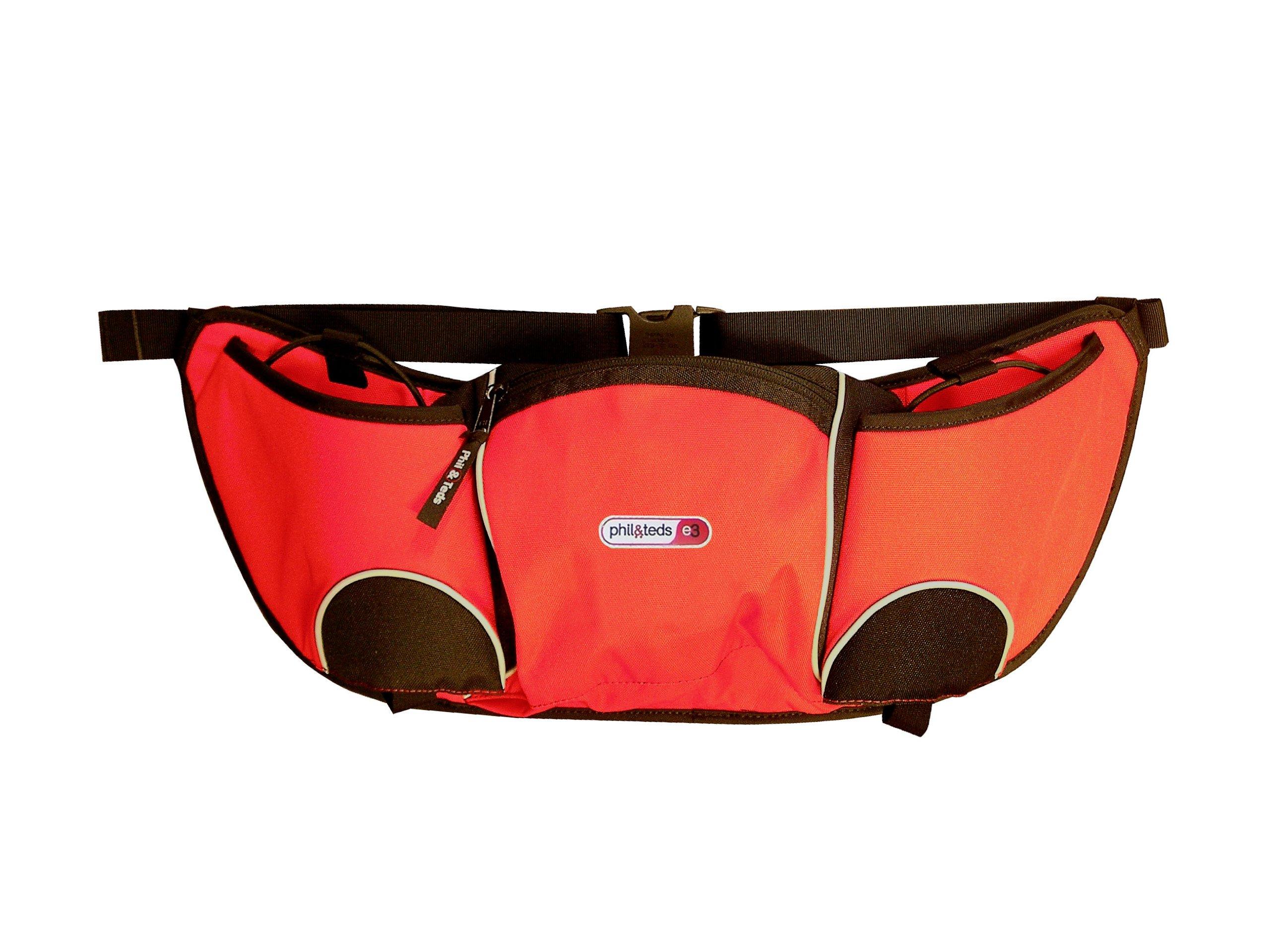 phil&teds Stroller Handle Hang Bag and Bottle Holder, Red