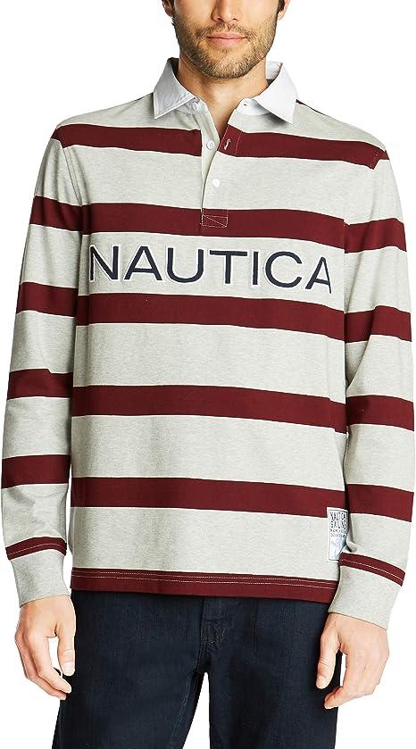 Nautica Hombre K93154 Polo Manga Larga de Rayas, en algodón ...