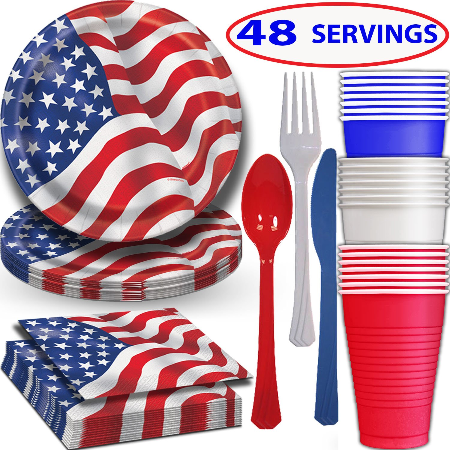 American Flag Tableware 48 Servings. Plates + Cups + Napkins + Cutlery. Patriotic Party Supplies Decorated in Red White and Blue Stars and Stripes for July Fourth, Memorial day, and more