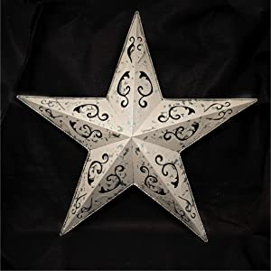 """Grila Cream LACY Metal BARN Star 18"""" - Rustic Cut Out Style Country Indoor Outdoor Christmas Home Decor. Interior Exterior Lacey Metal Stars Decorations Look Great Hanging on House Walls Fence Porch"""