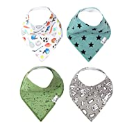 "Baby Bandana Drool Bibs for Drooling and Teething 4 Pack Gift Set Varsity"" by Copper Pearl"