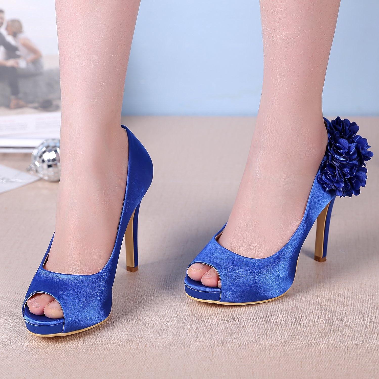M MULGARIA Women High Heel Pumps Platform Peep Toe Flowers Satin Evening Prom Wedding Shoes