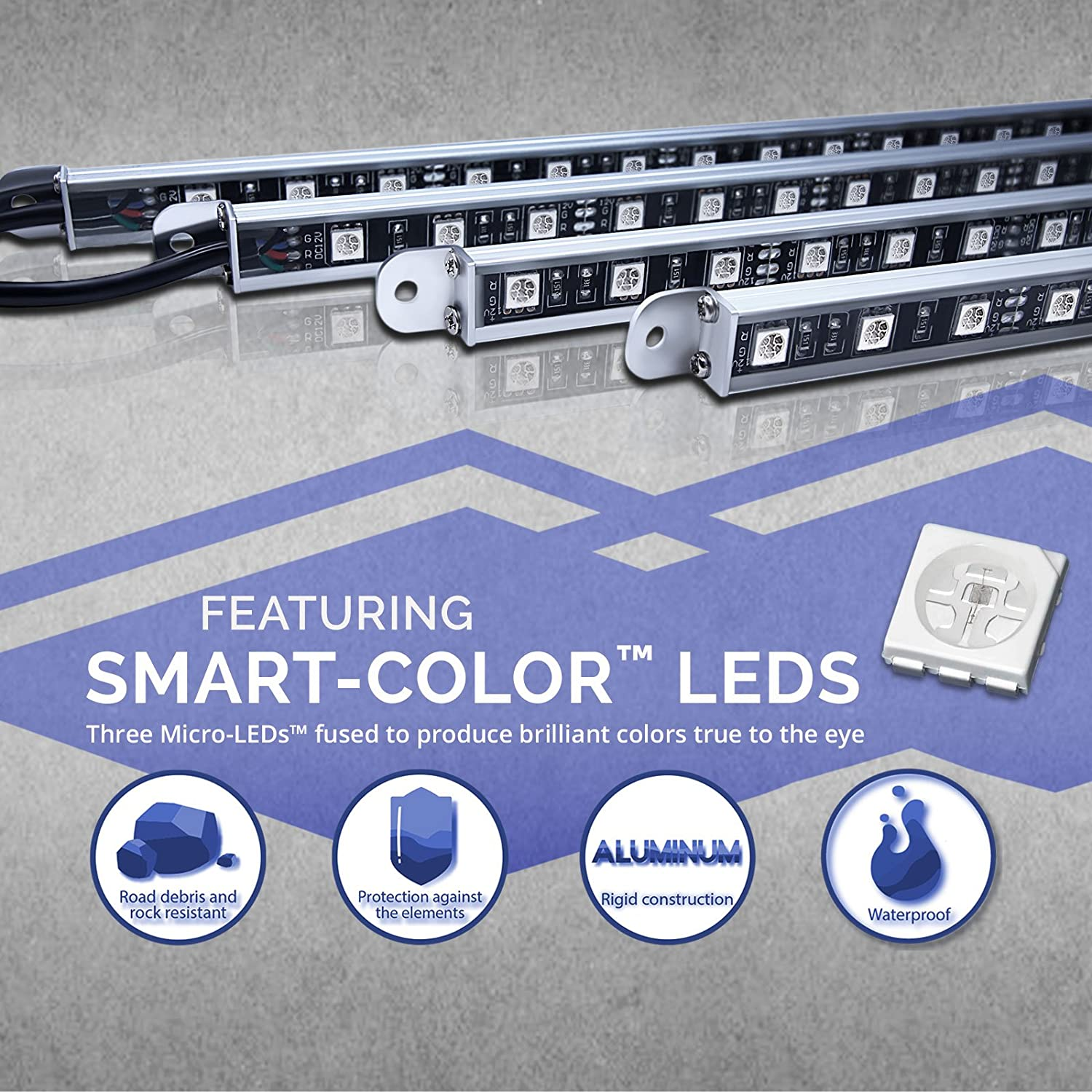 Opt7 Aura Led Trailer Rv Underbody Awning Or Interior Boat Complete Wiring Kit Copy Cassell Marine Lighting Full Color Spectrum 4 Smart Glow Strip Automotive