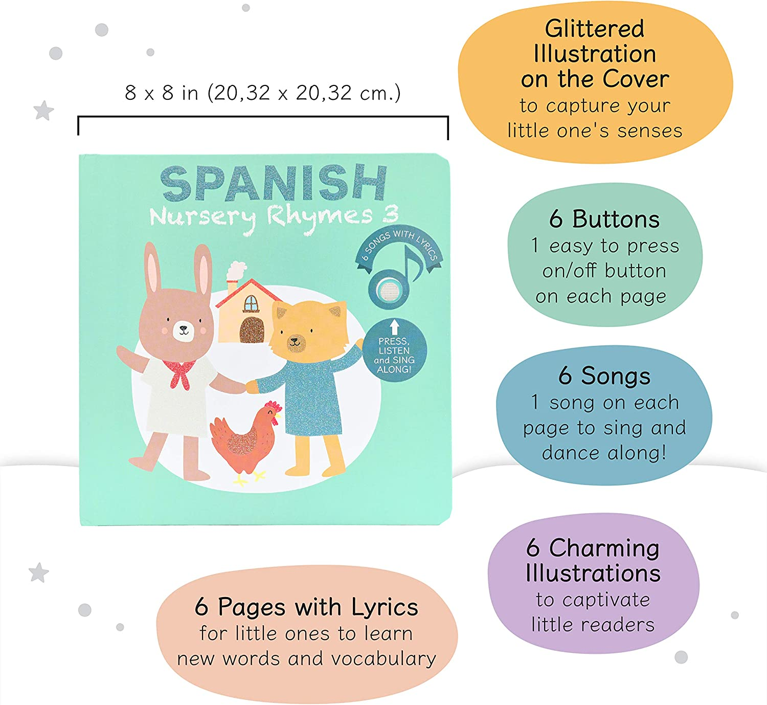 Listen and Sing Along Calis Books Spanish Nursery Rhymes 3- Press Bilingual Spanish- English Sound Book for Babies and Toddlers Ages 1-4