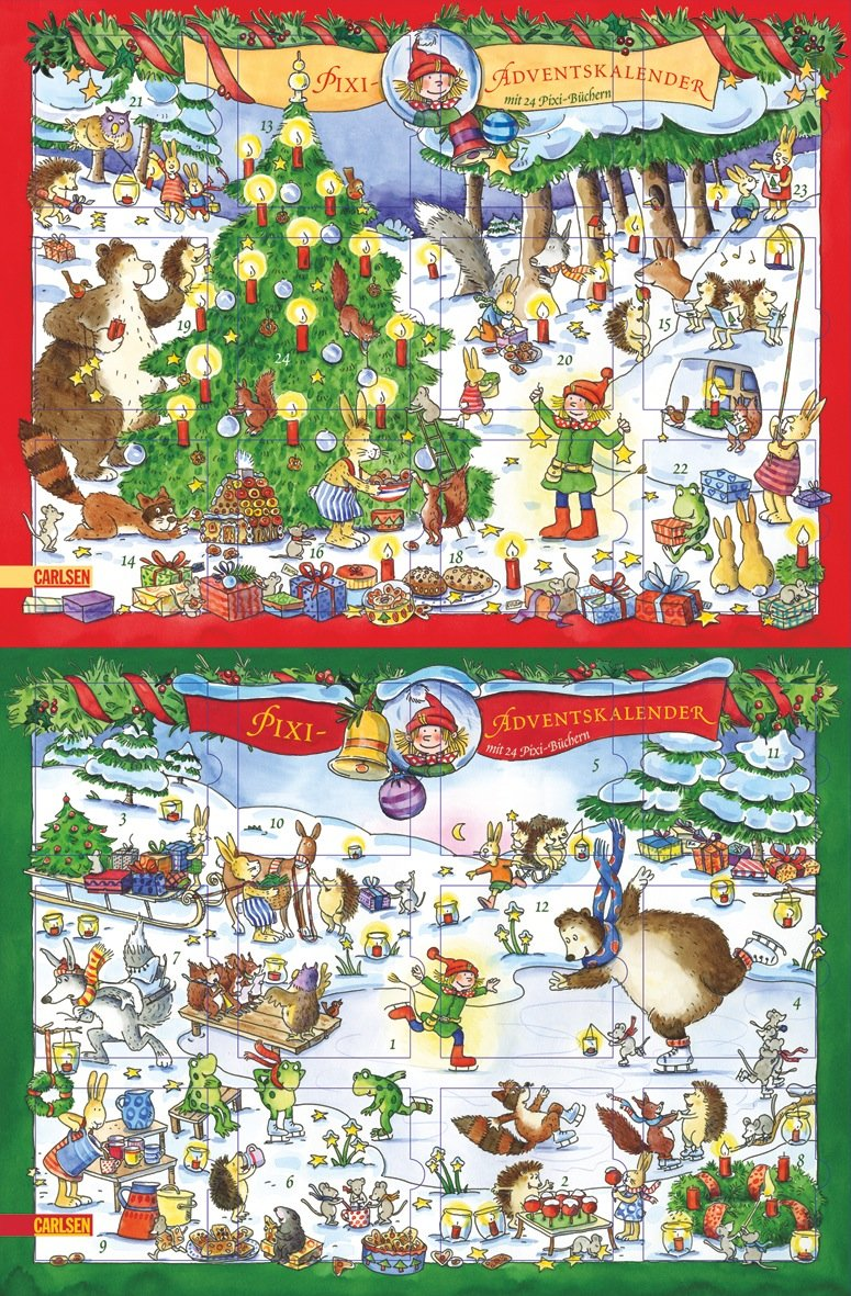 pixi-adventskalender-2009-mit-24-pixi-bchern-querformat-mit-gold-und-silberglitzer