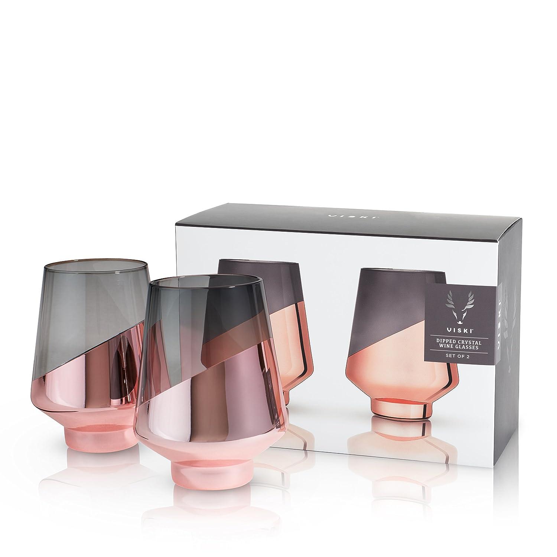 af3697a1f8e Amazon.com: Viski Raye: Dipped Crystal Wine Glasses: Home & Kitchen